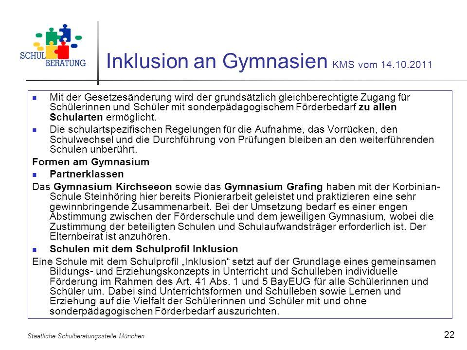 Inklusion an Gymnasien KMS vom 14.10.2011