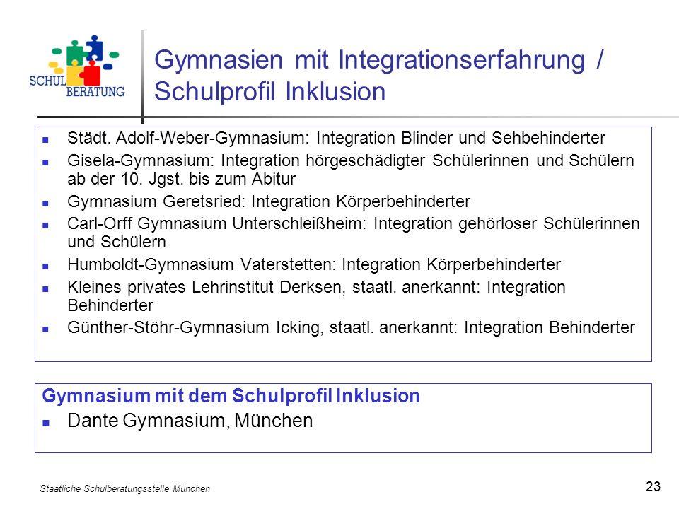 Gymnasien mit Integrationserfahrung / Schulprofil Inklusion