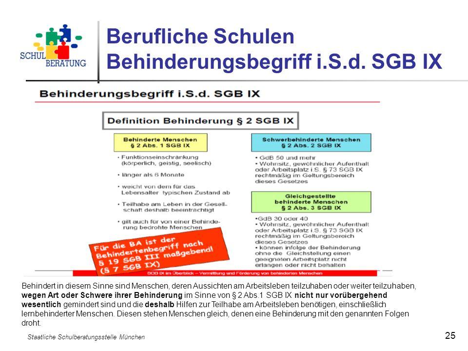 Berufliche Schulen Behinderungsbegriff i.S.d. SGB IX