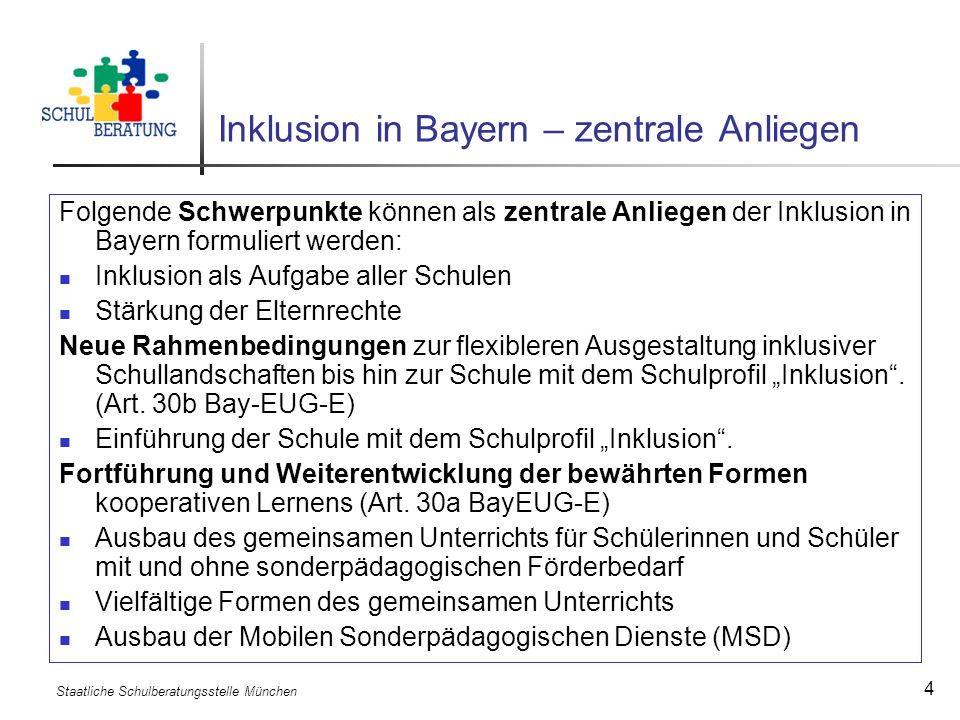 Inklusion in Bayern – zentrale Anliegen