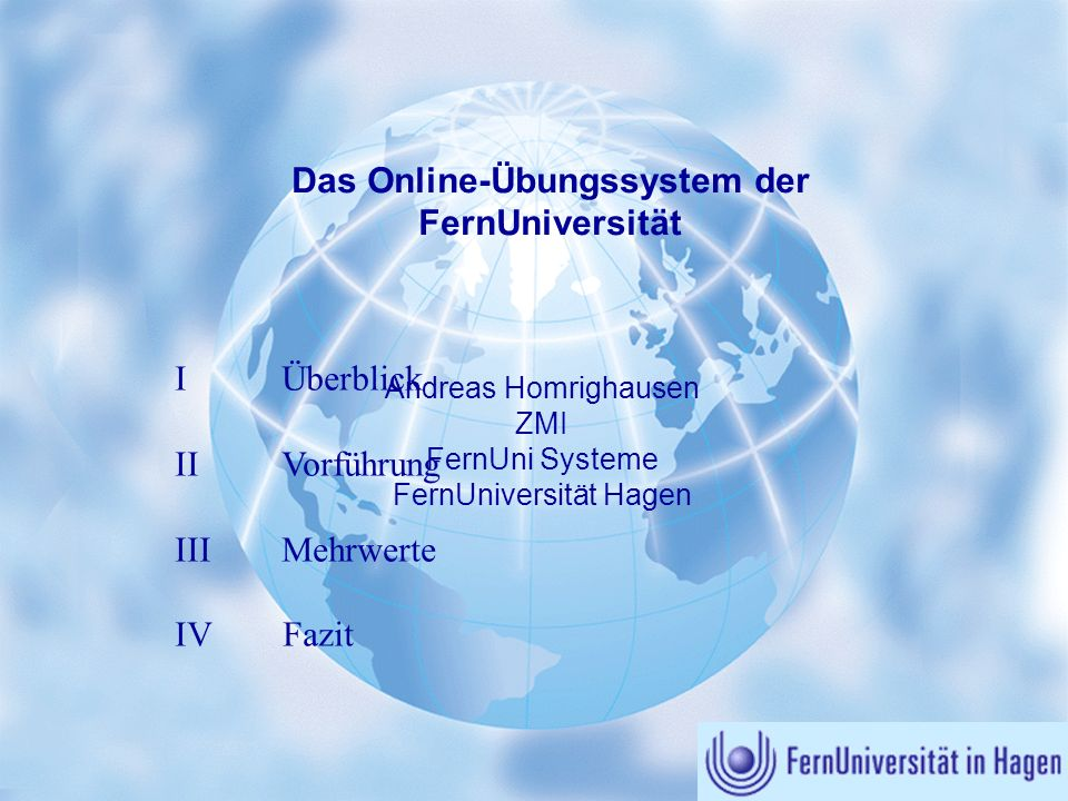 Das Online-Übungssystem der FernUniversität