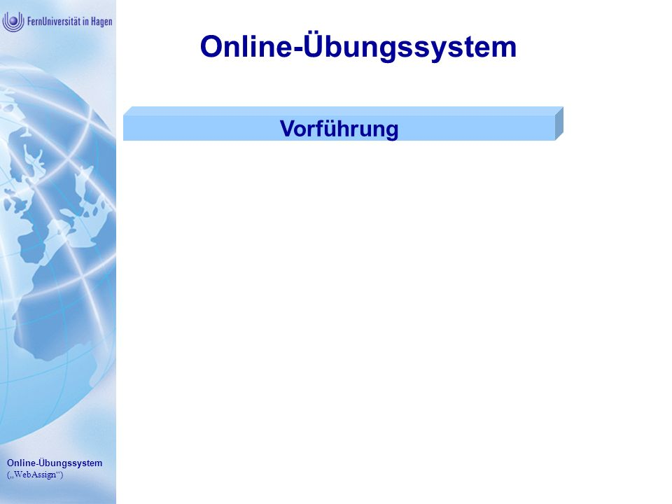 Online-Übungssystem Vorführung