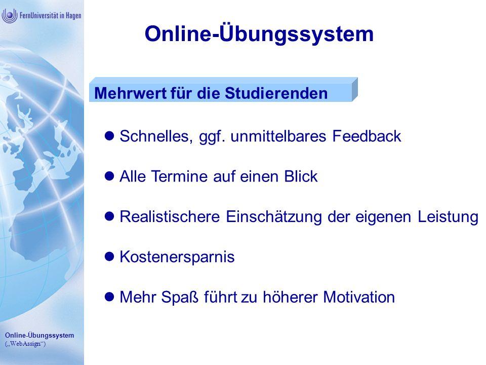 Online-Übungssystem Mehrwert für die Studierenden