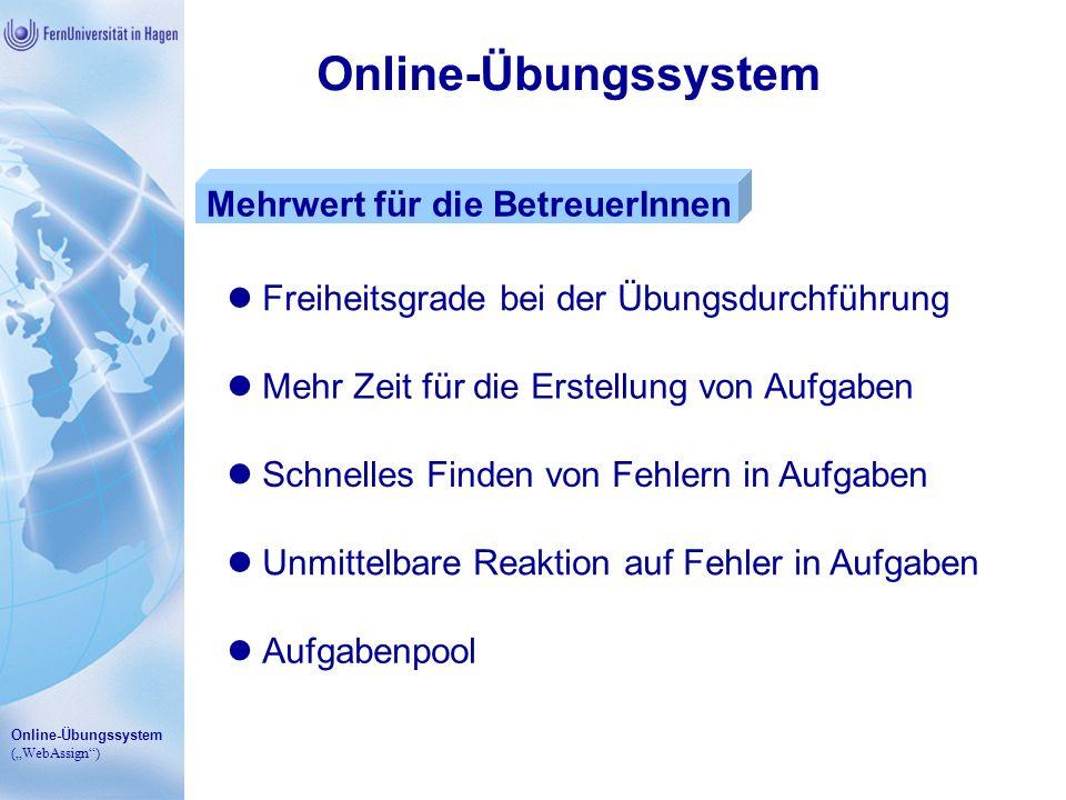 Online-Übungssystem Mehrwert für die BetreuerInnen