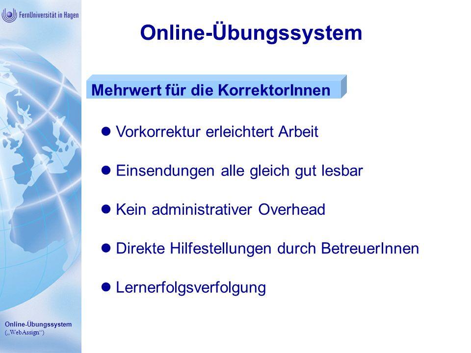 Online-Übungssystem Mehrwert für die KorrektorInnen