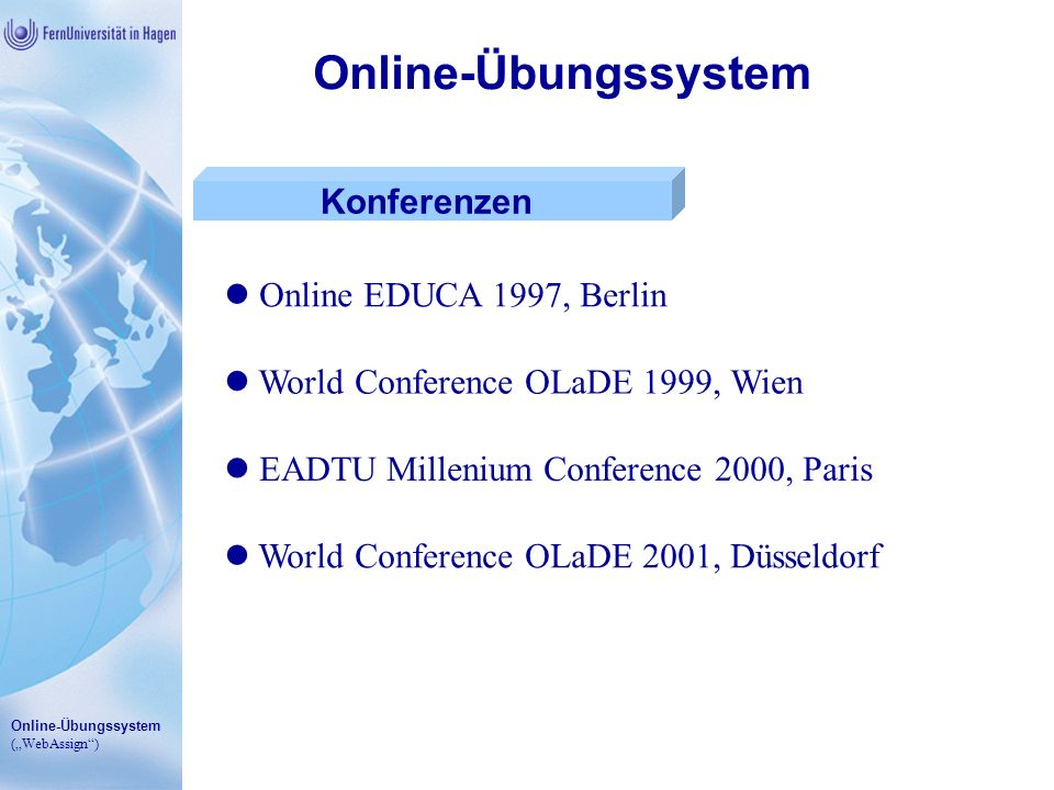 Online-Übungssystem Konferenzen Online EDUCA 1997, Berlin