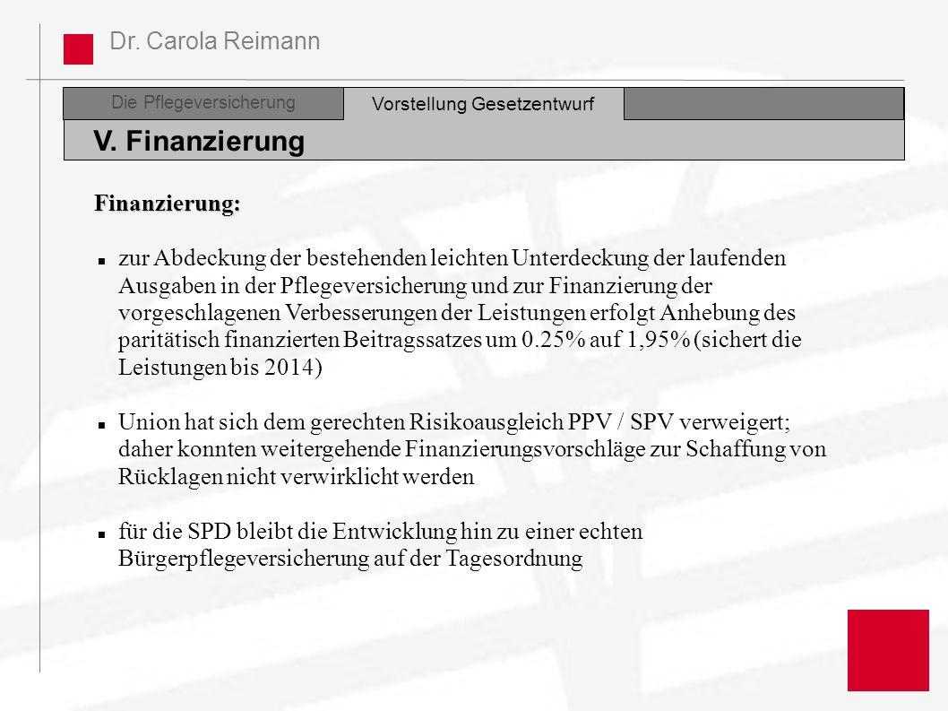 V. Finanzierung Finanzierung: