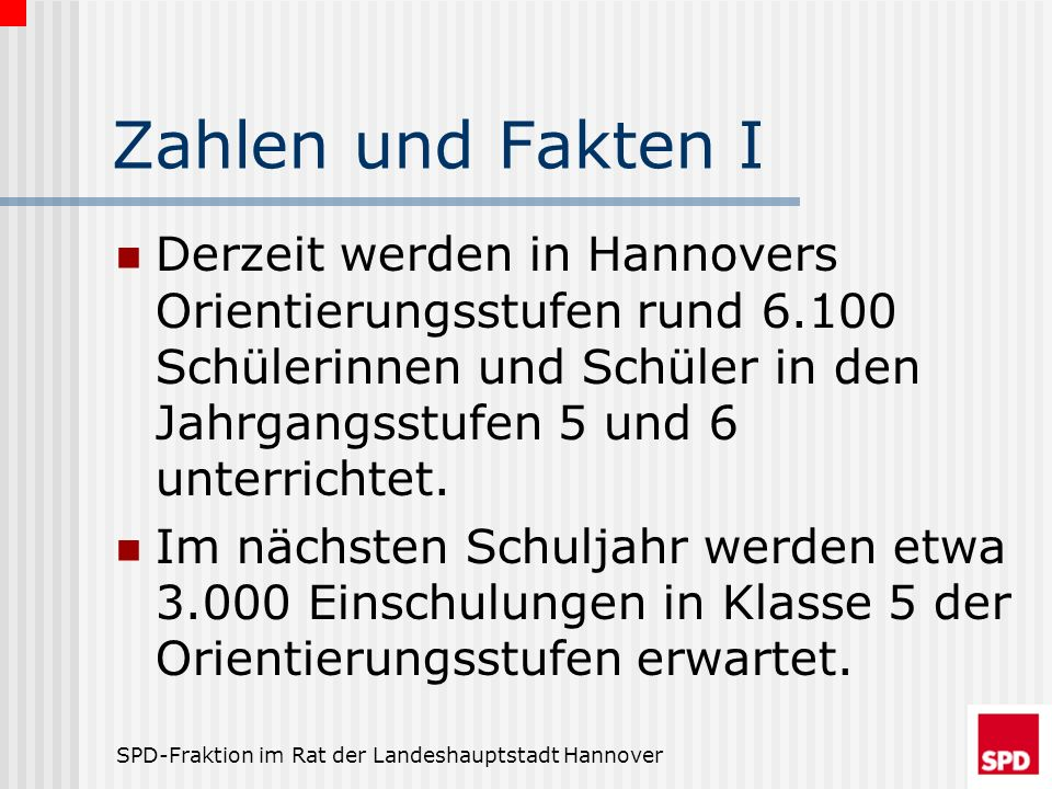 Zahlen und Fakten I Derzeit werden in Hannovers Orientierungsstufen rund 6.100 Schülerinnen und Schüler in den Jahrgangsstufen 5 und 6 unterrichtet.