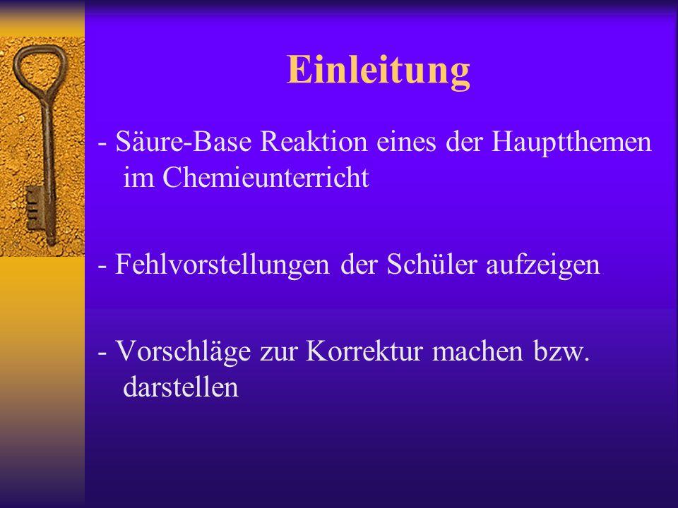 Einleitung - Säure-Base Reaktion eines der Hauptthemen im Chemieunterricht. - Fehlvorstellungen der Schüler aufzeigen.
