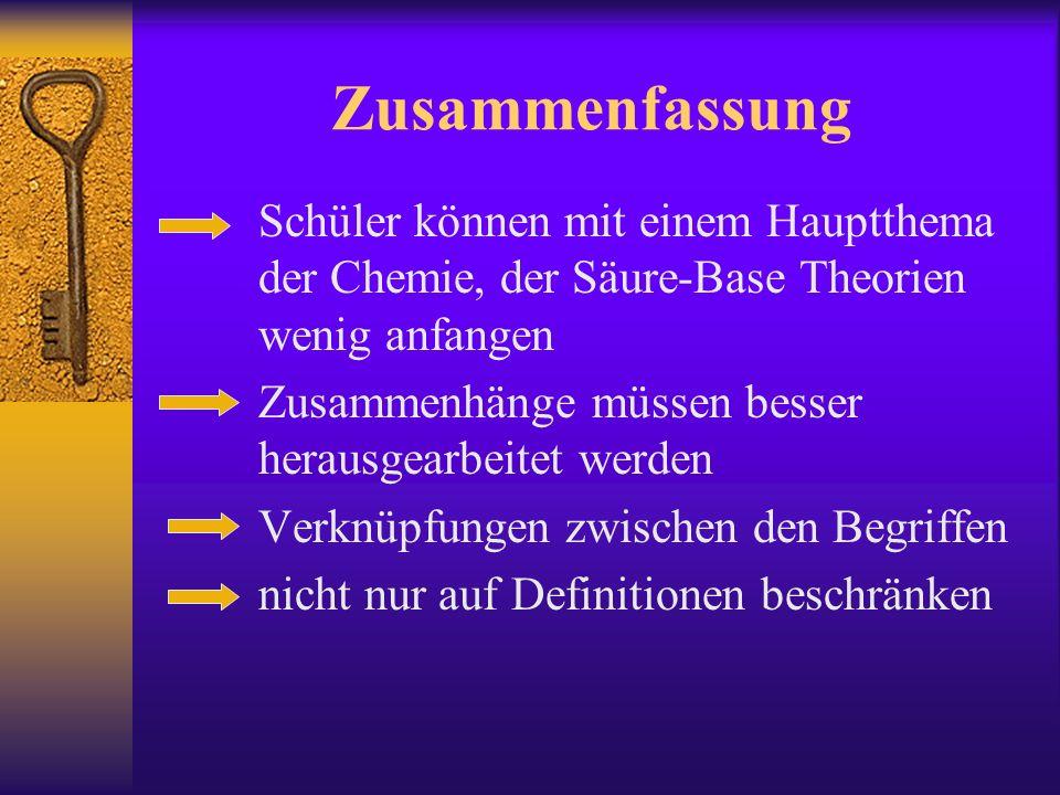 Zusammenfassung Schüler können mit einem Hauptthema der Chemie, der Säure-Base Theorien wenig anfangen.