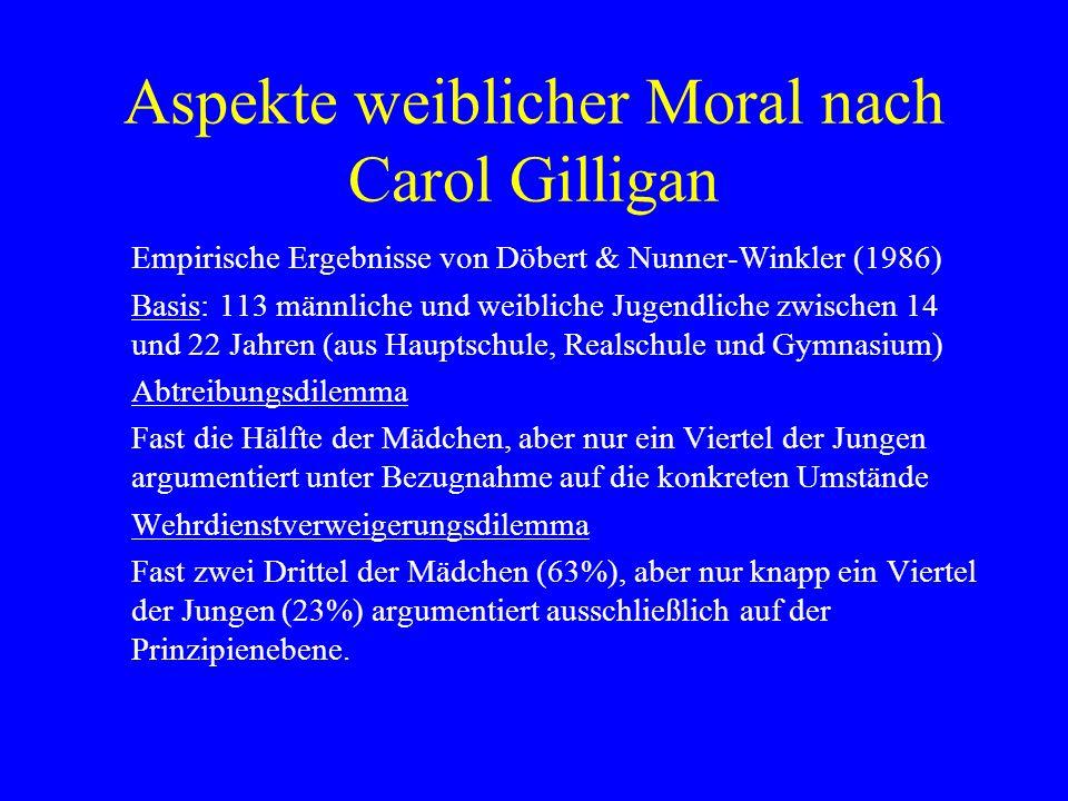 Aspekte weiblicher Moral nach Carol Gilligan