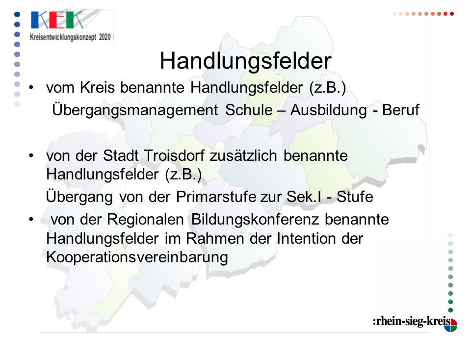 Handlungsfelder vom Kreis benannte Handlungsfelder (z.B.) Übergangsmanagement Schule – Ausbildung - Beruf.