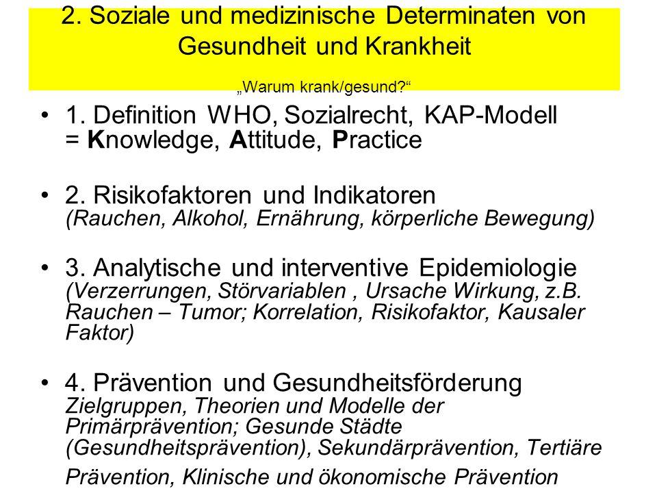 """2. Soziale und medizinische Determinaten von Gesundheit und Krankheit """"Warum krank/gesund"""