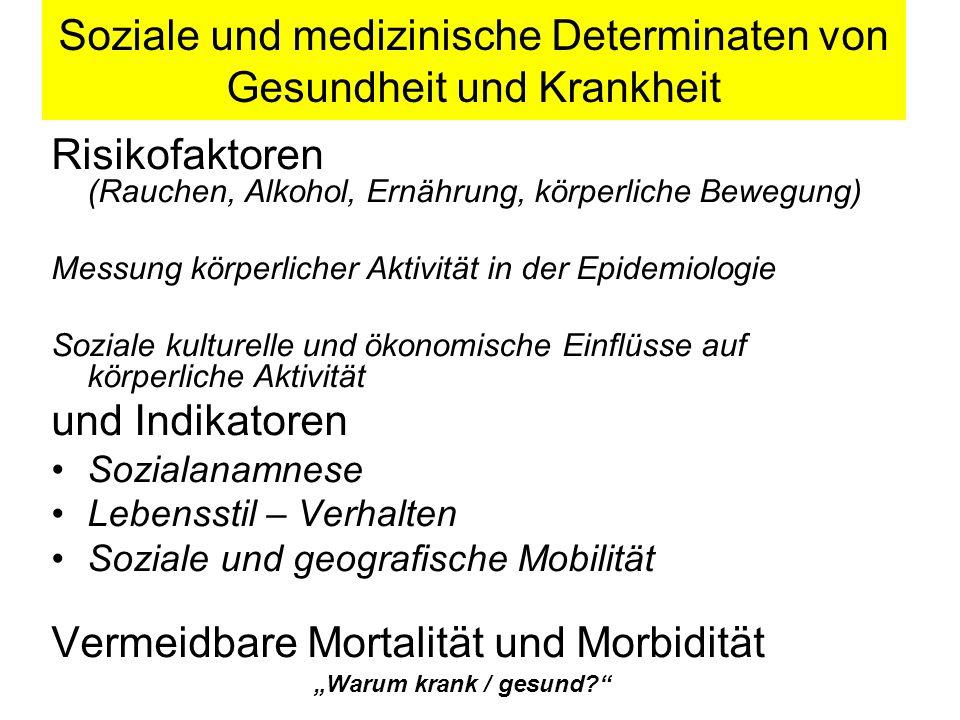 Soziale und medizinische Determinaten von Gesundheit und Krankheit