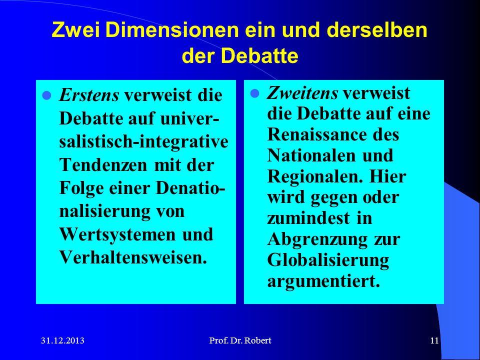 Zwei Dimensionen ein und derselben der Debatte