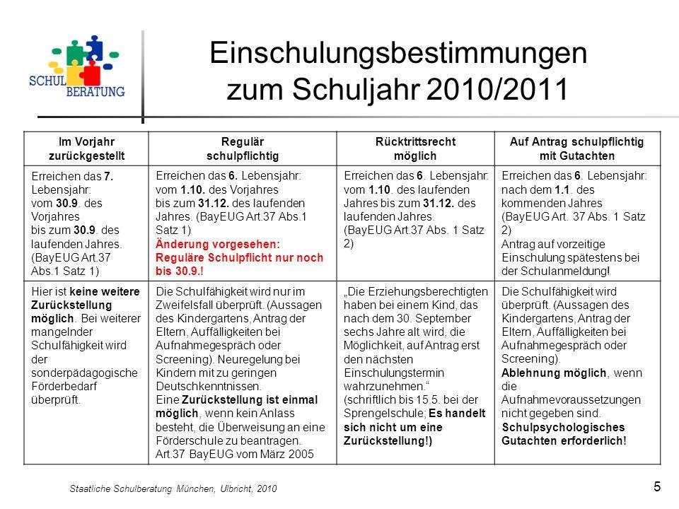 Einschulungsbestimmungen zum Schuljahr 2010/2011