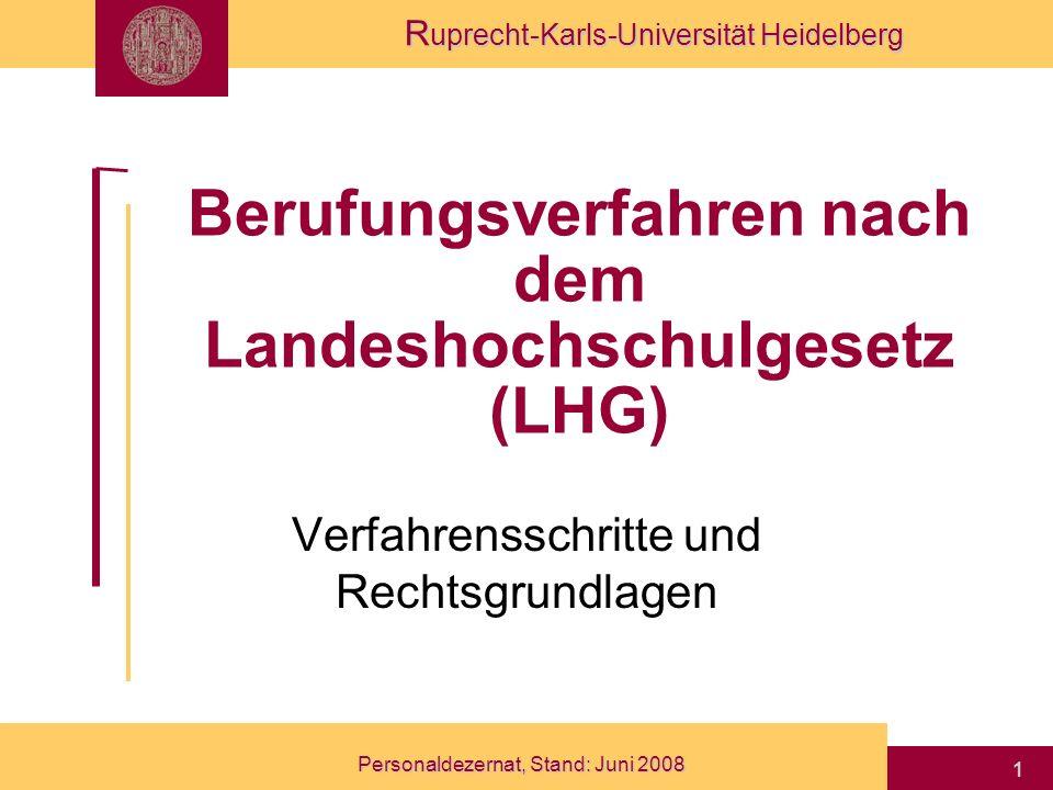 Berufungsverfahren nach dem Landeshochschulgesetz (LHG)