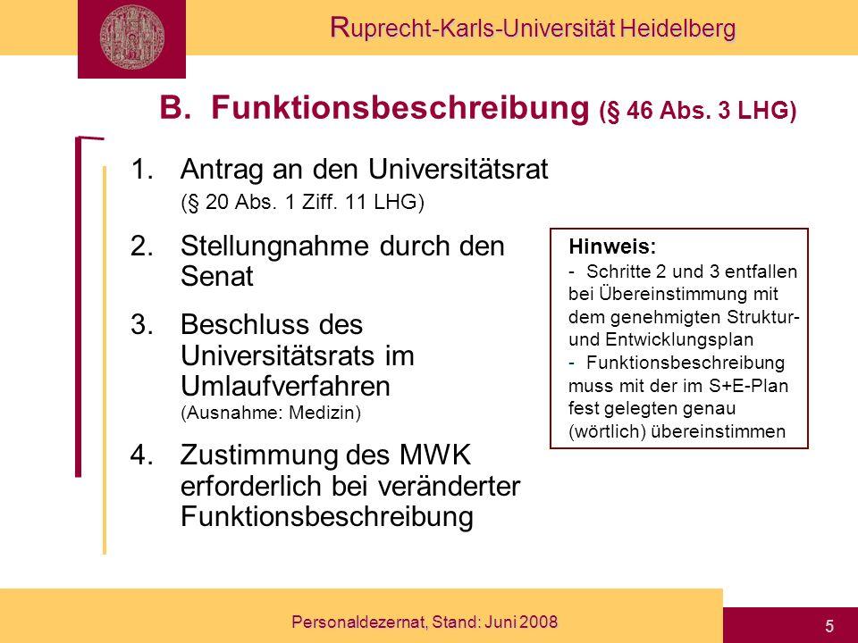 B. Funktionsbeschreibung (§ 46 Abs. 3 LHG)
