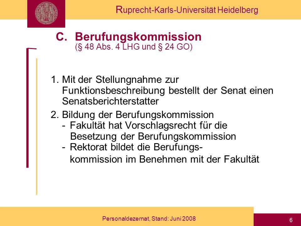 Berufungskommission (§ 48 Abs. 4 LHG und § 24 GO)
