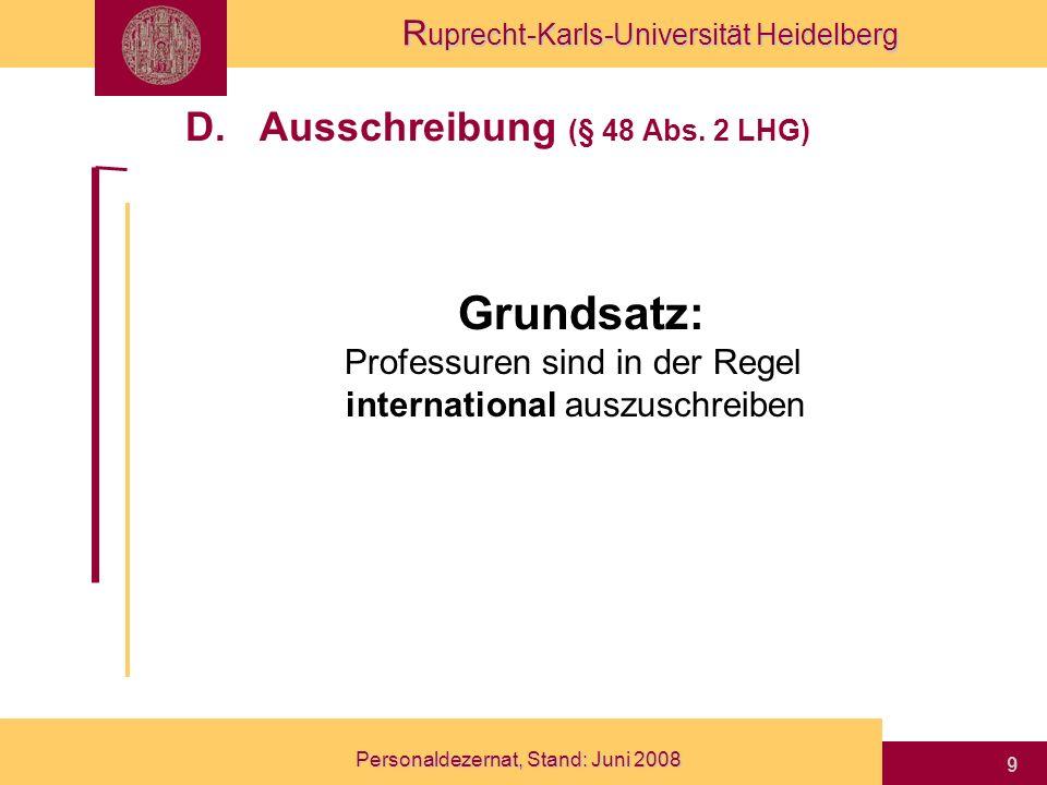 D. Ausschreibung (§ 48 Abs. 2 LHG)