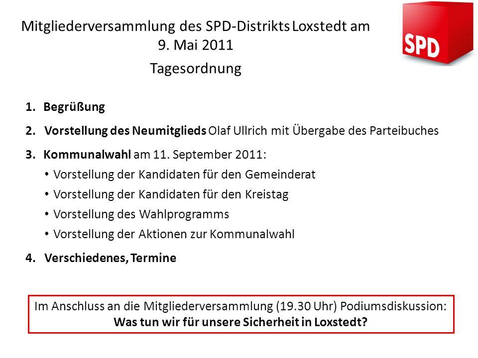Mitgliederversammlung des SPD-Distrikts Loxstedt am 9. Mai 2011