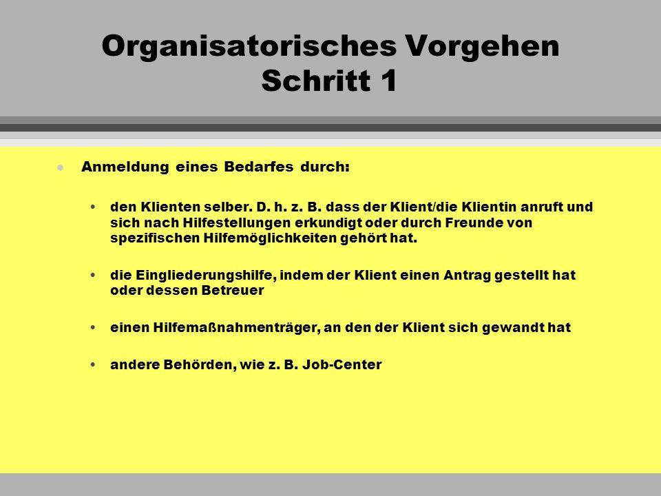 Organisatorisches Vorgehen Schritt 1