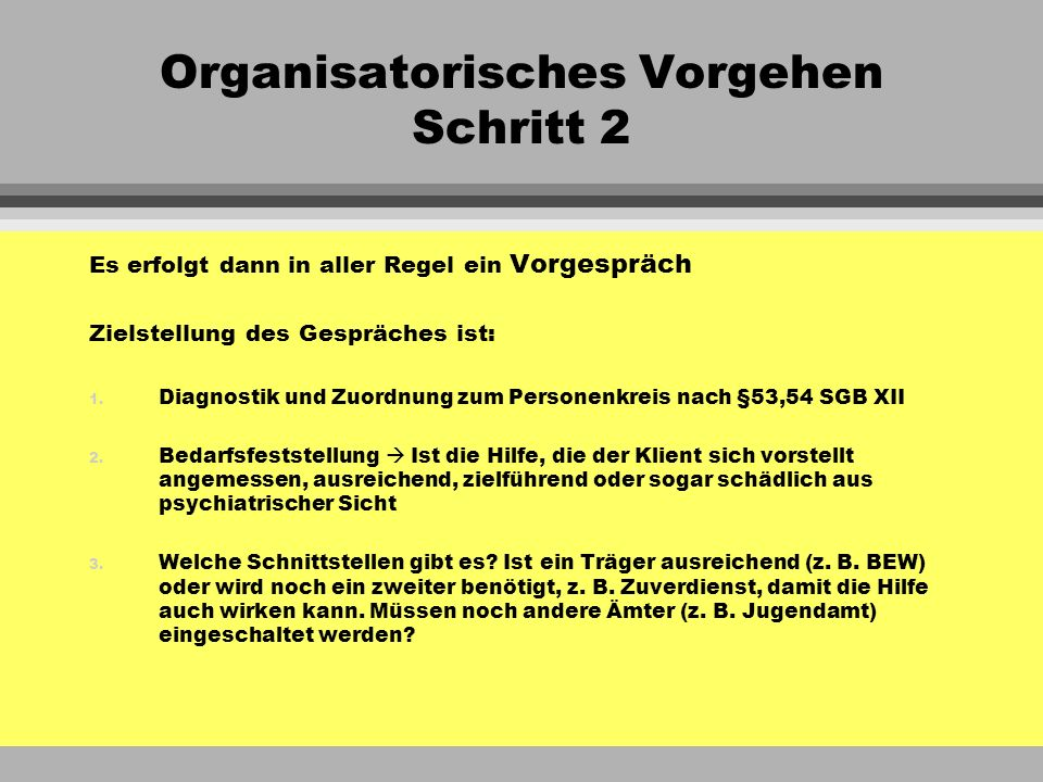 Organisatorisches Vorgehen Schritt 2