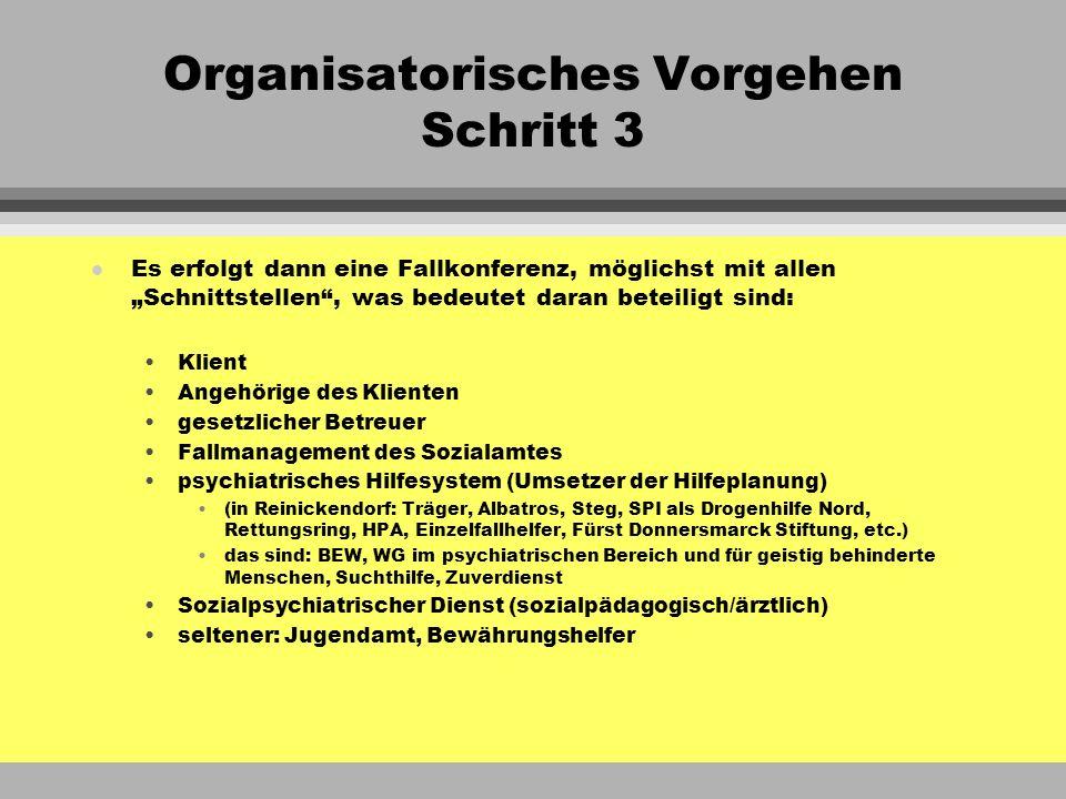 Organisatorisches Vorgehen Schritt 3