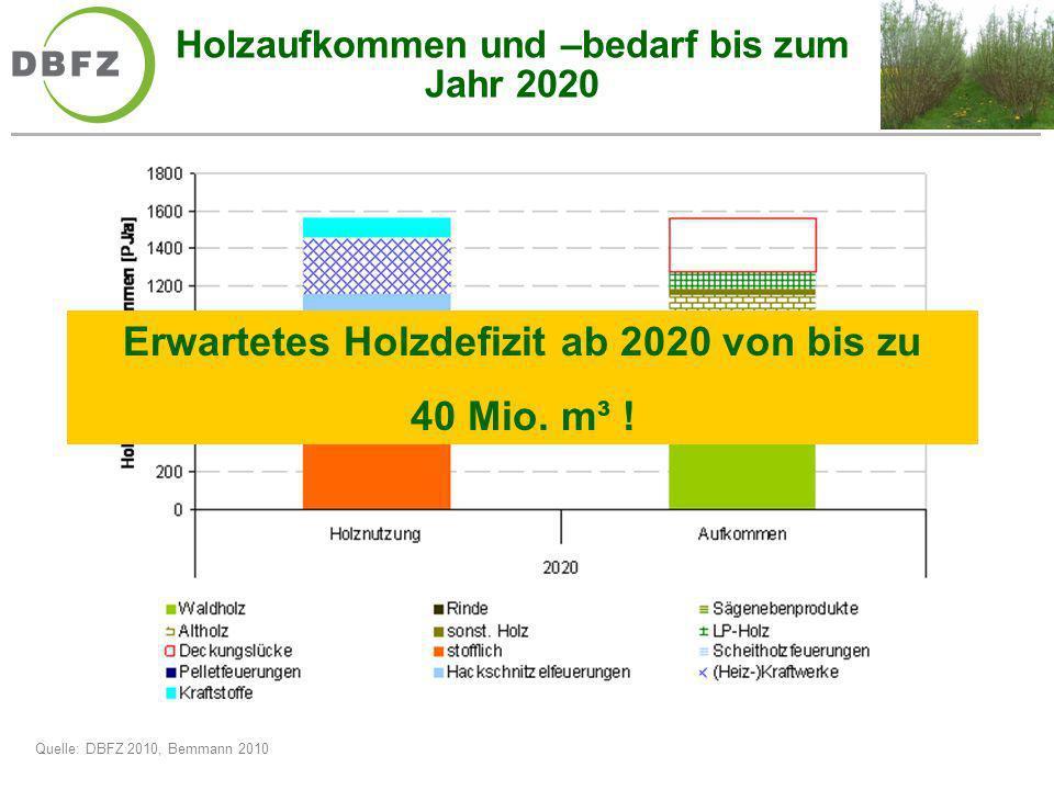 Holzaufkommen und –bedarf bis zum Jahr 2020