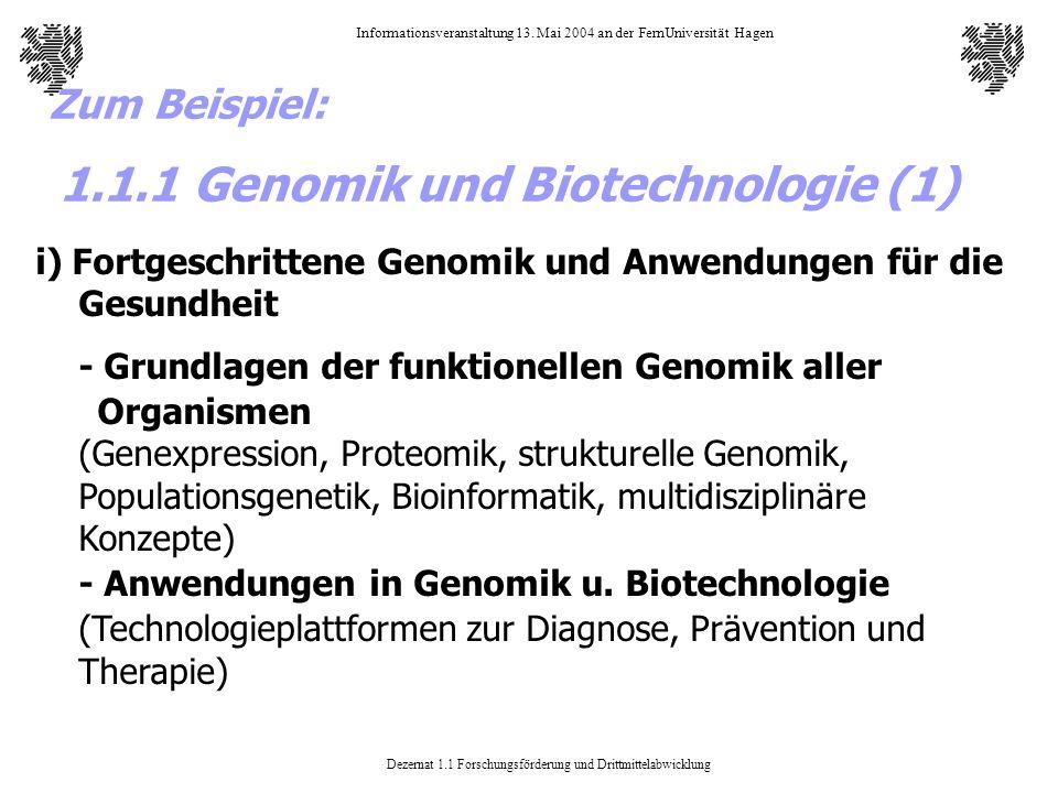 1.1.1 Genomik und Biotechnologie (1)