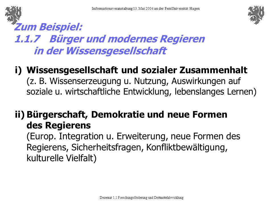 Zum Beispiel: 1. 1. 7. Bürger und modernes Regieren