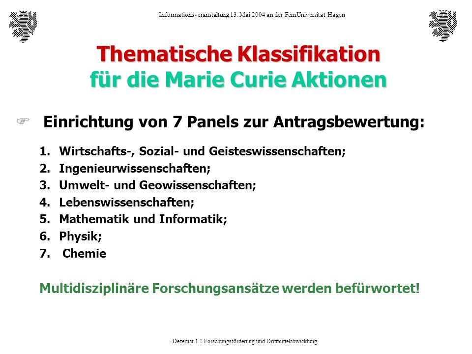 Thematische Klassifikation für die Marie Curie Aktionen