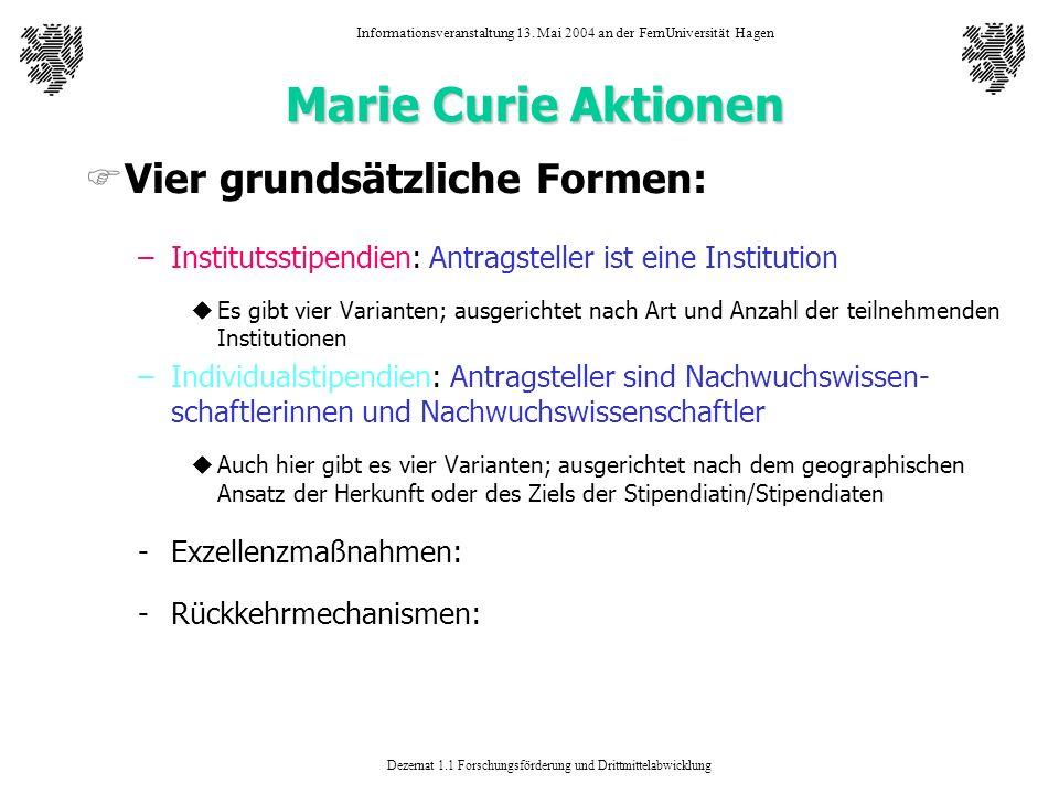 Marie Curie Aktionen Vier grundsätzliche Formen:
