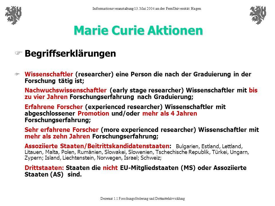 Marie Curie Aktionen Begriffserklärungen