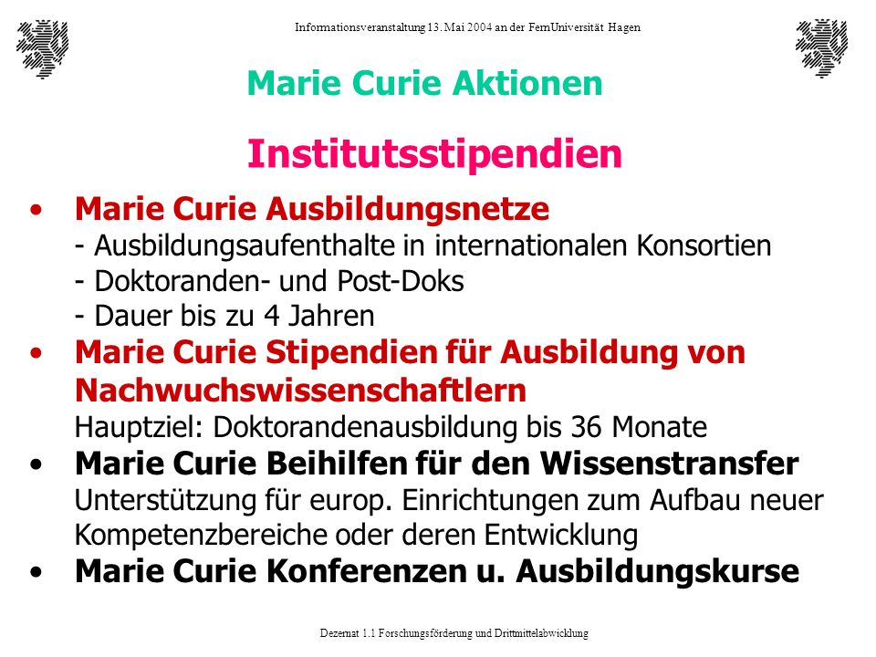 Institutsstipendien Marie Curie Aktionen