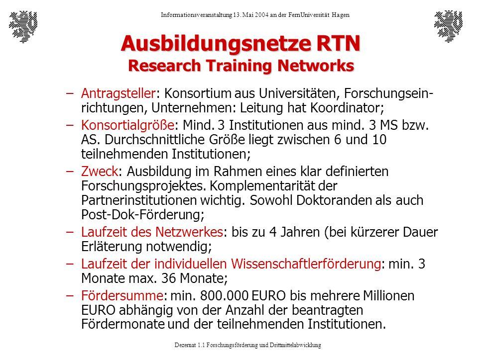 Ausbildungsnetze RTN Research Training Networks