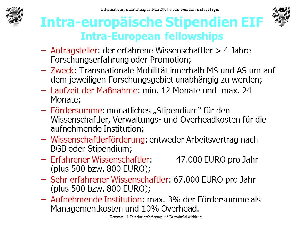 Intra-europäische Stipendien EIF Intra-European fellowships