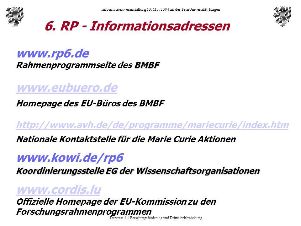 6. RP - Informationsadressen