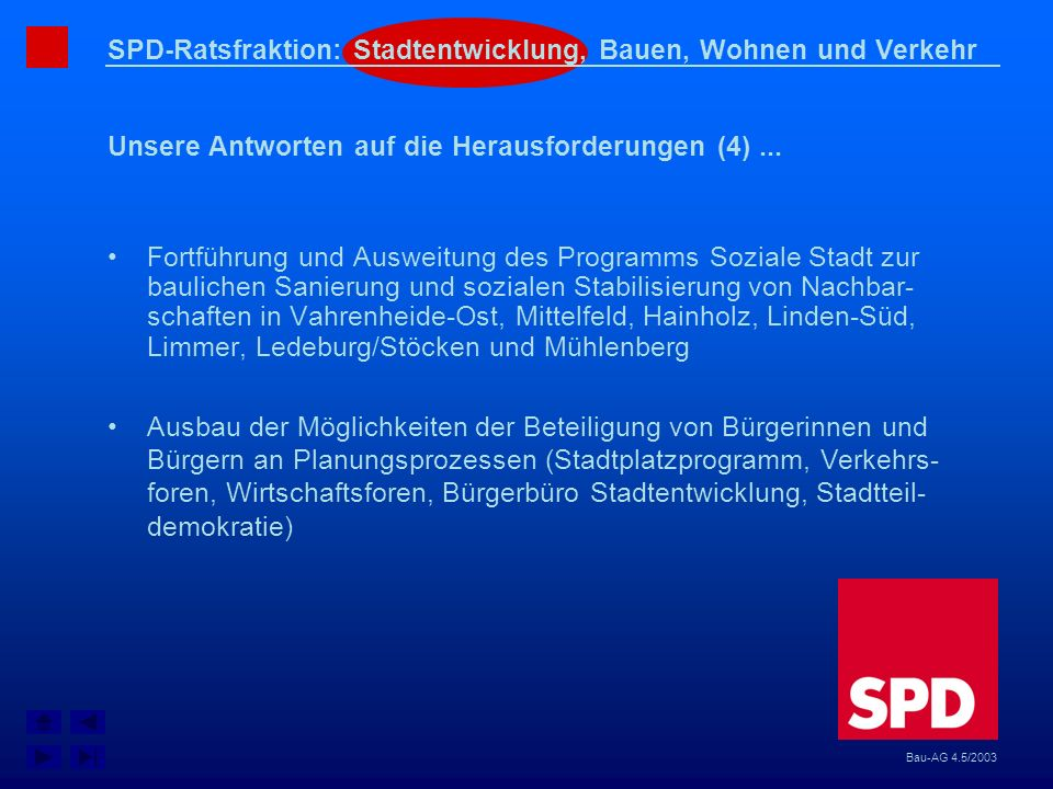 SPD-Ratsfraktion: Stadtentwicklung, Bauen, Wohnen und Verkehr