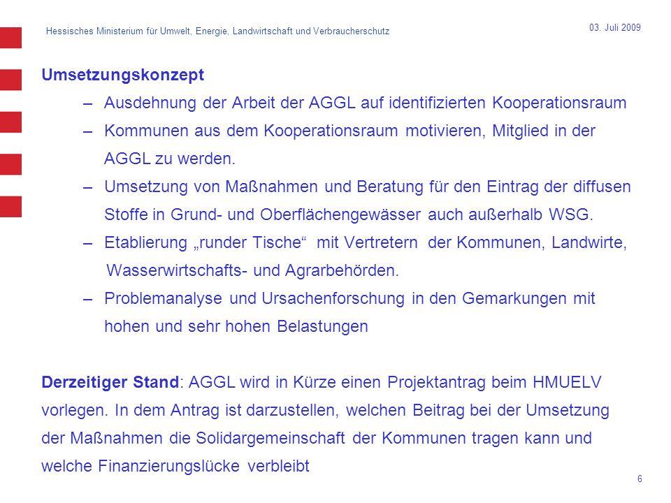Ausdehnung der Arbeit der AGGL auf identifizierten Kooperationsraum
