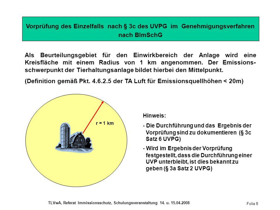 Vorprüfung des Einzelfalls nach § 3c des UVPG im Genehmigungsverfahren nach BImSchG