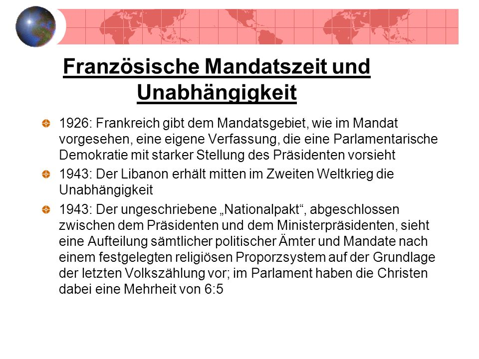 Französische Mandatszeit und Unabhängigkeit