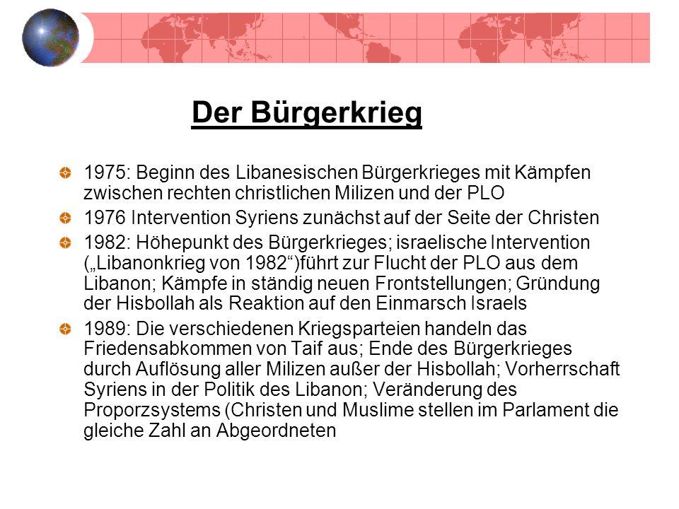 Der Bürgerkrieg1975: Beginn des Libanesischen Bürgerkrieges mit Kämpfen zwischen rechten christlichen Milizen und der PLO.