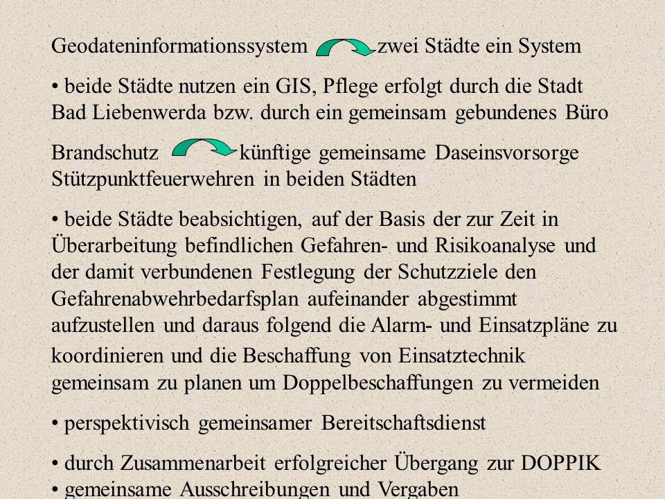Geodateninformationssystem zwei Städte ein System