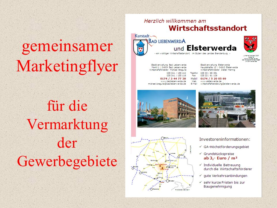 gemeinsamer Marketingflyer für die Vermarktung der Gewerbegebiete