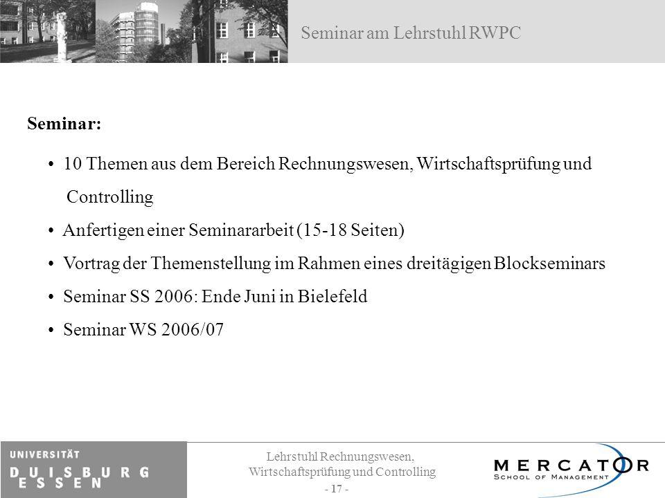 Seminar am Lehrstuhl RWPC