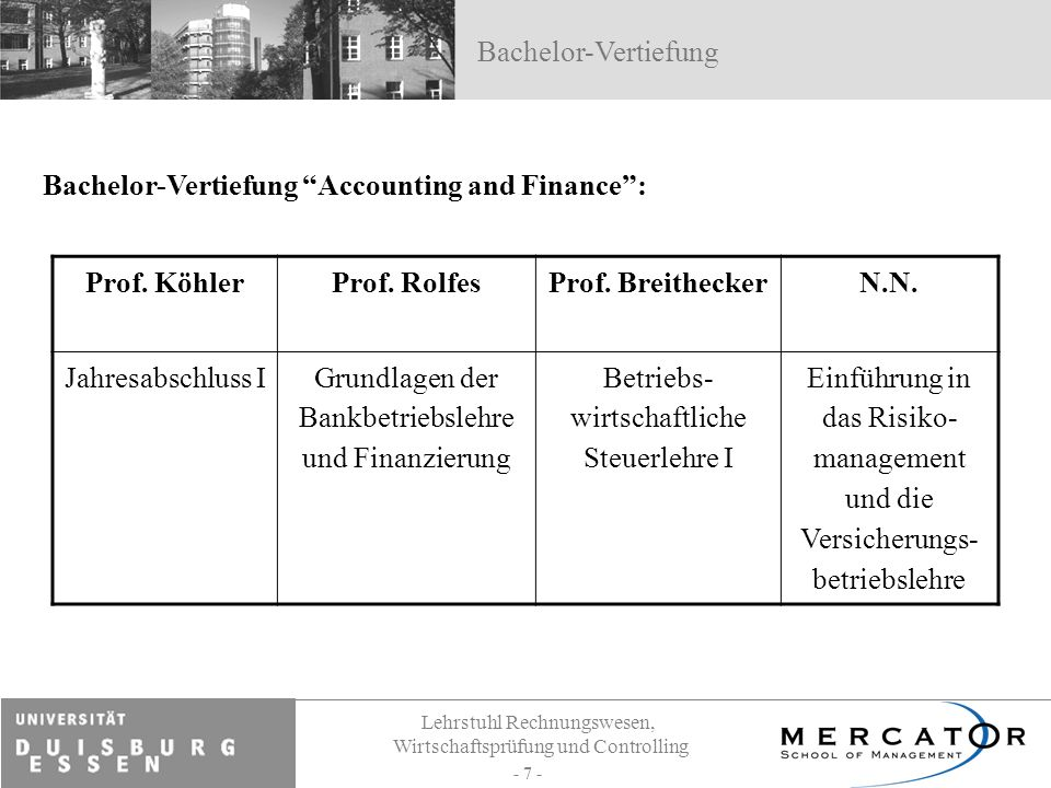 Prof. Köhler Prof. Rolfes Prof. Breithecker N.N.