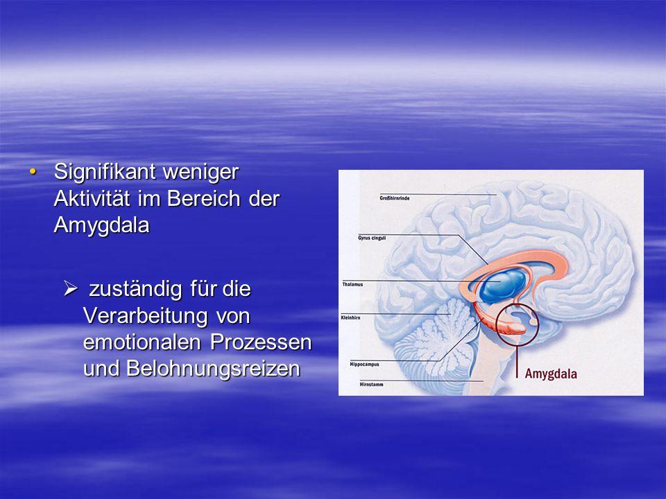 Signifikant weniger Aktivität im Bereich der Amygdala