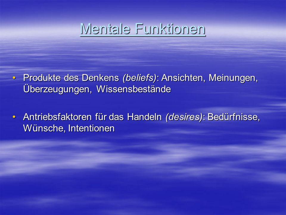 Mentale Funktionen Produkte des Denkens (beliefs): Ansichten, Meinungen, Überzeugungen, Wissensbestände.