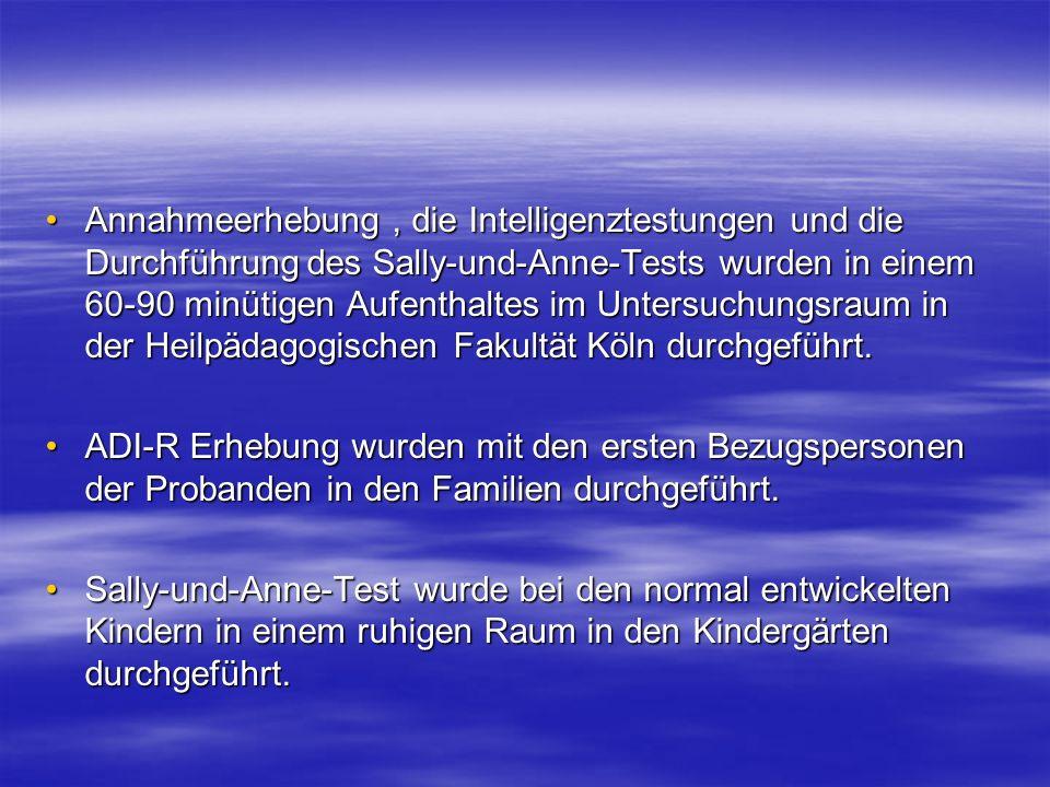 Annahmeerhebung , die Intelligenztestungen und die Durchführung des Sally-und-Anne-Tests wurden in einem 60-90 minütigen Aufenthaltes im Untersuchungsraum in der Heilpädagogischen Fakultät Köln durchgeführt.